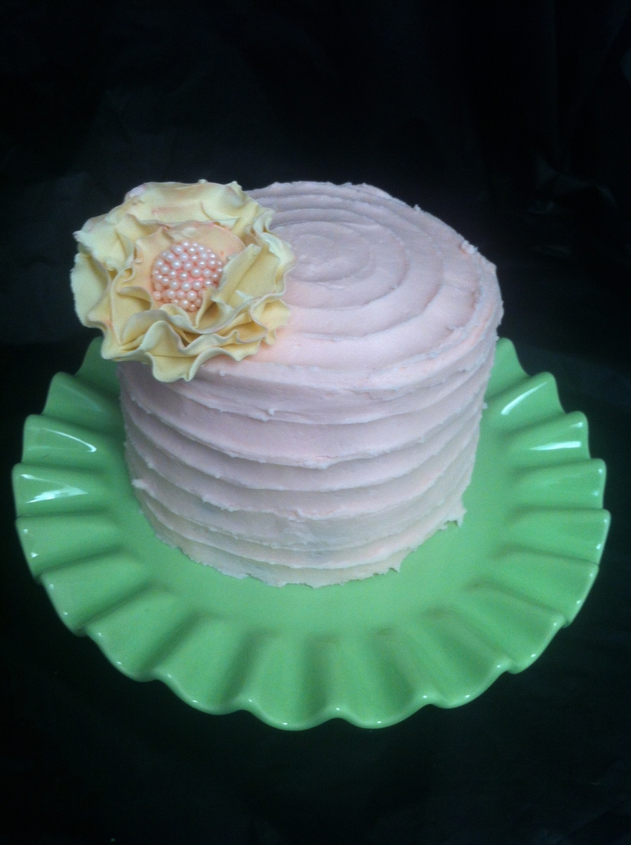 Ruffled Pink Sugar Flower Cake  on Cake Central