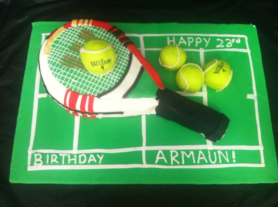 Wondrous Tennis Racquet Birthday Cake Cakecentral Com Personalised Birthday Cards Veneteletsinfo