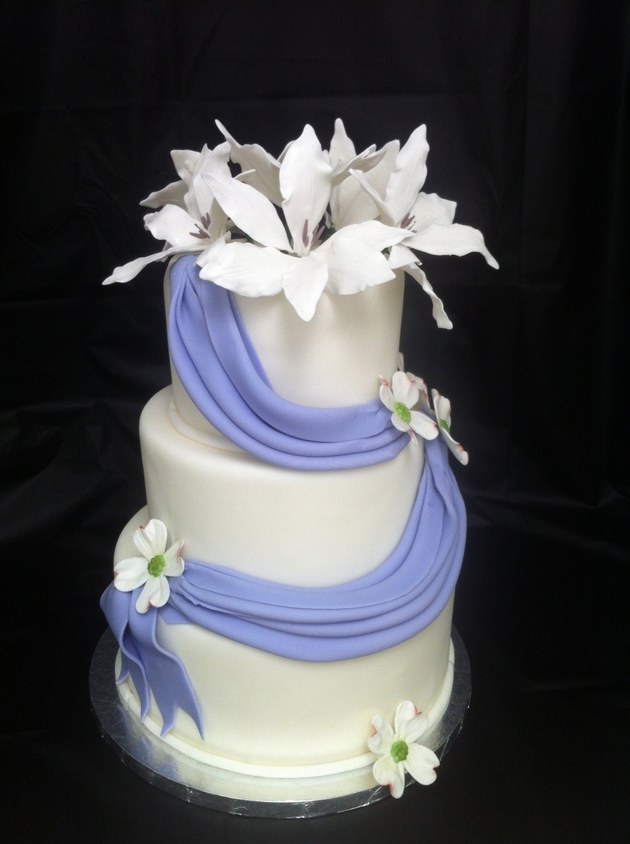 Lily And Dogwood Purple Draped Wedding Cake on Cake Central
