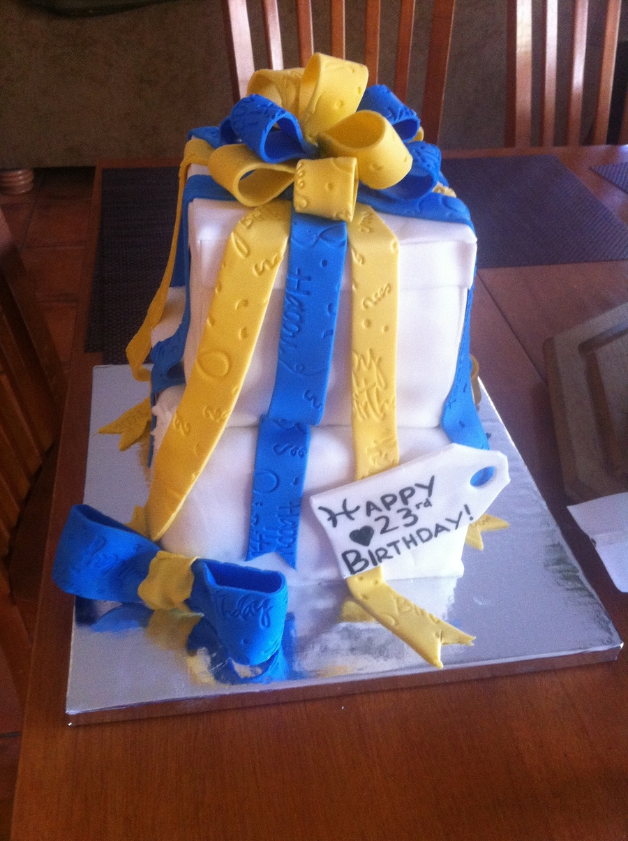 Yellow And Blue Ribbon Cake on Cake Central