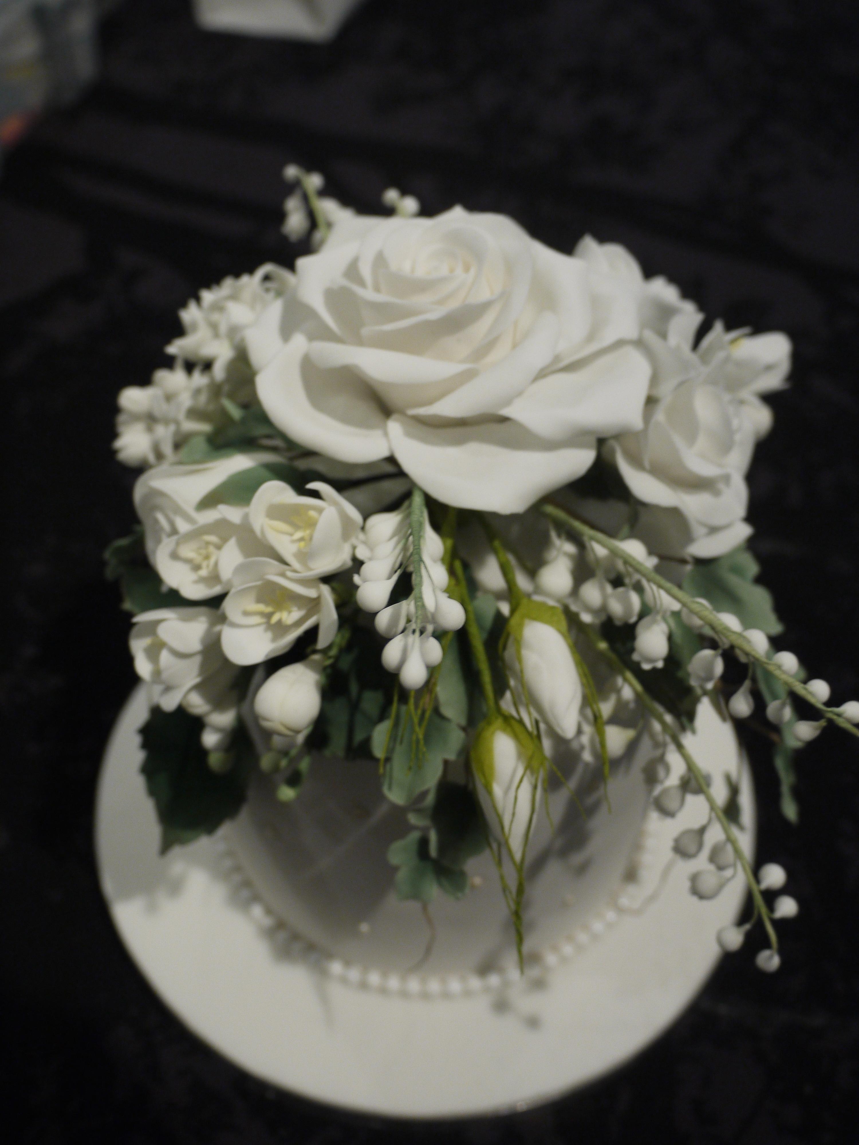 Sugar Flowers On Wedding Cake - CakeCentral.com