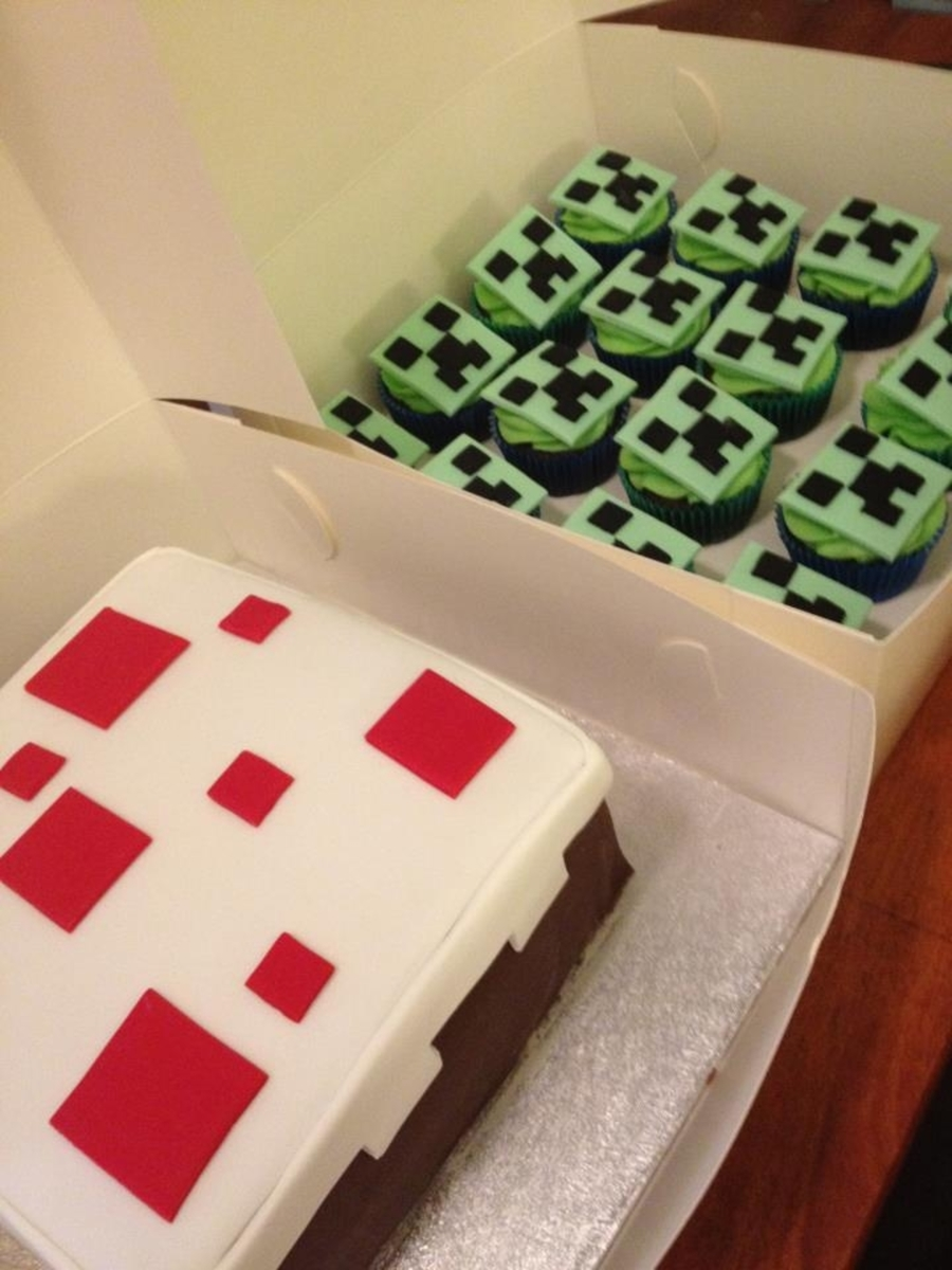 Minecraft 'cake' Cake With 'creeper' Face Cupcakes on Cake Central