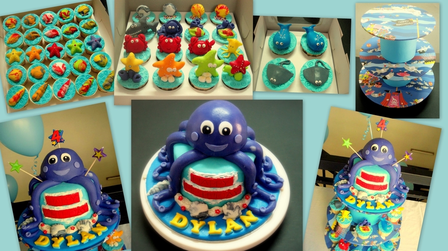 Octopus Under The Sea Cake & Cupcakes on Cake Central