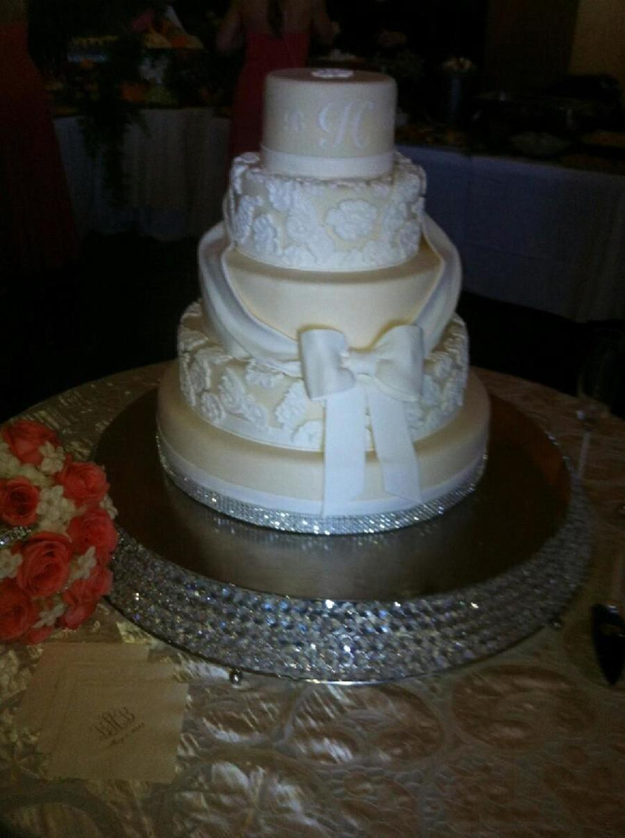 5 Tier Wedding Cake With Bows Swags Amp Lace By Tracy Jordan At Simply Southern Specialties on Cake Central