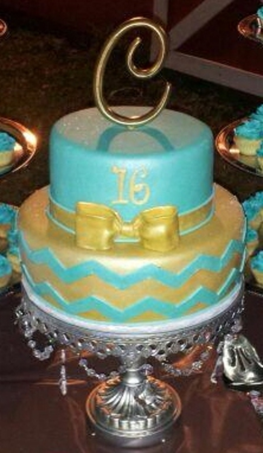 16th Birthday Cake With Tiffany Blue Chevron Print Cake Is