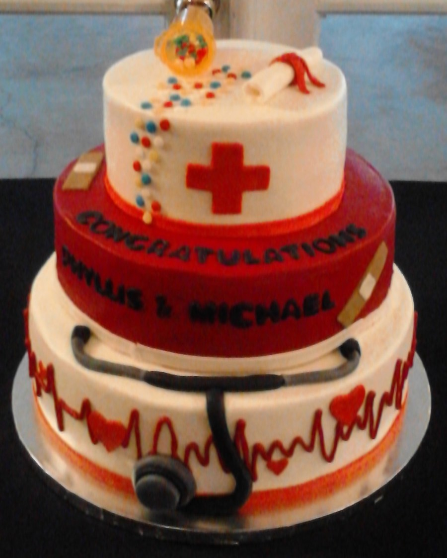 Nurse Themed Grad Cake In Buttercream W Fondant Accents on Cake Central