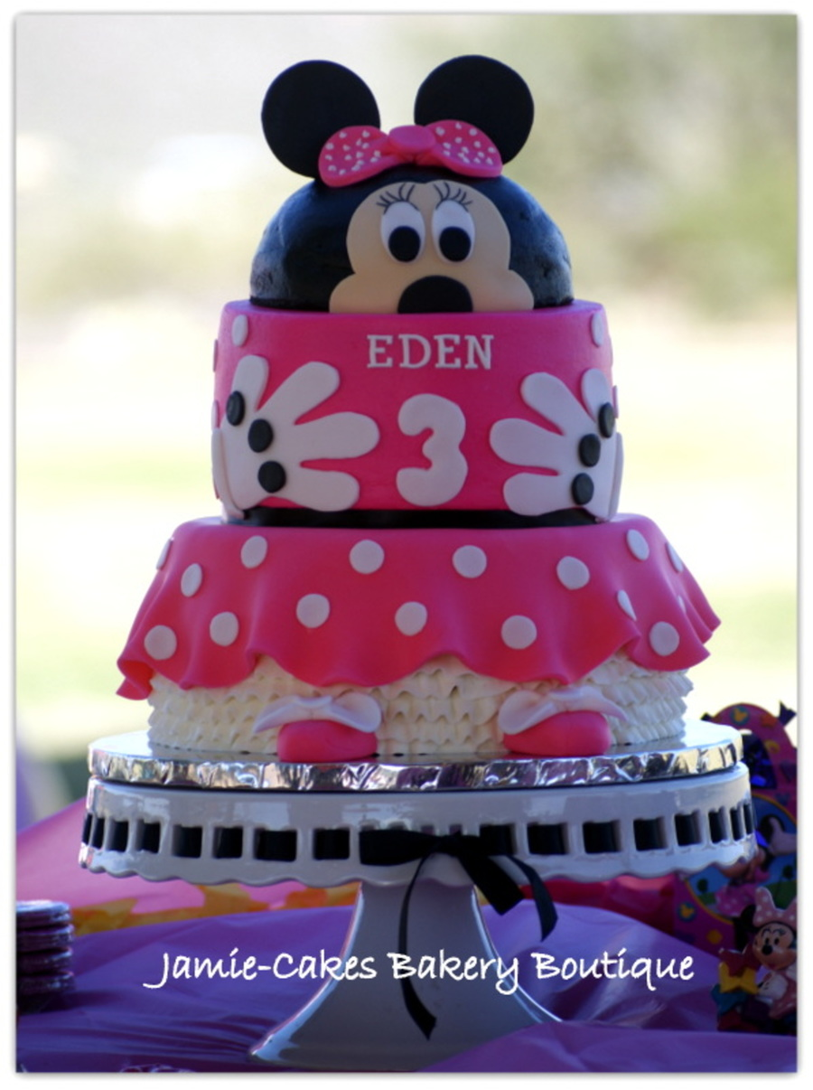 Incredible Minnie Mouse Bday Cake For My Daughters 3Rd Birthday All Funny Birthday Cards Online Alyptdamsfinfo