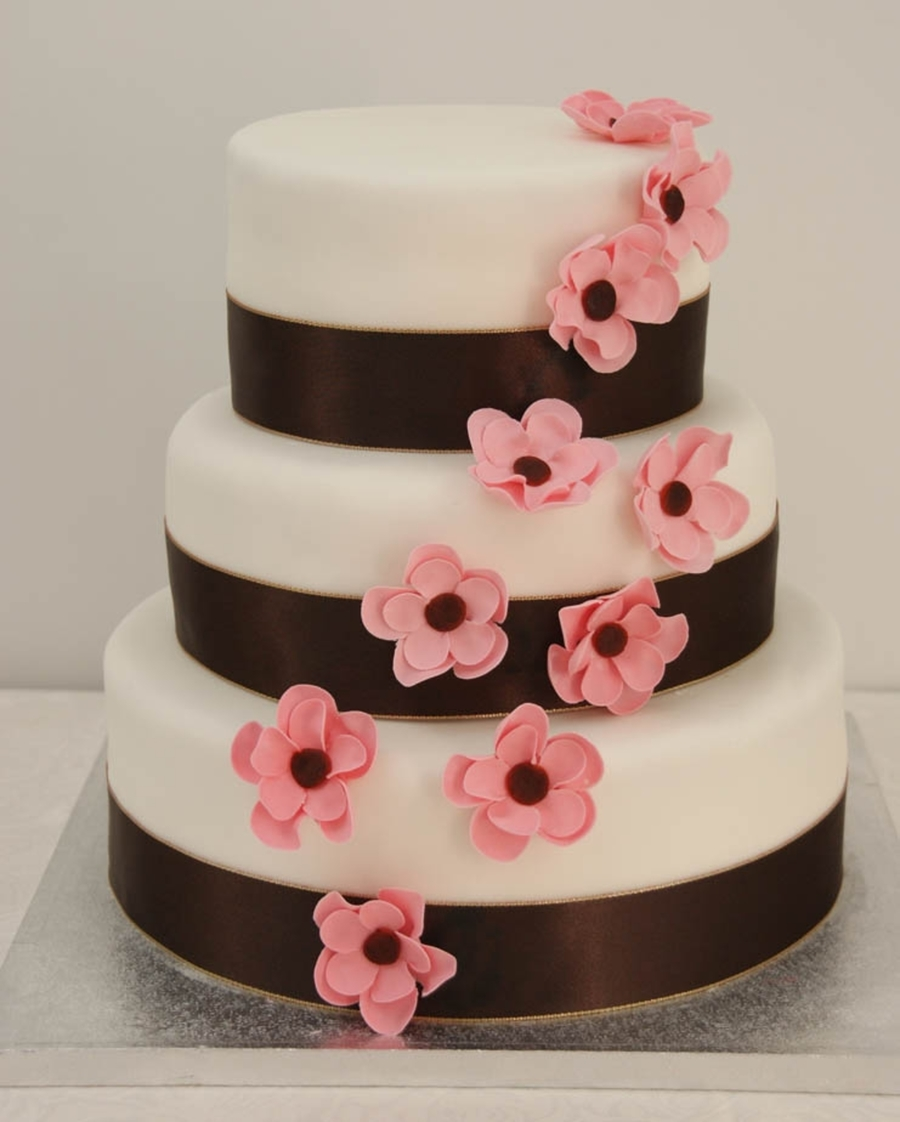 brown and pastel pink wedding cake - cakecentral