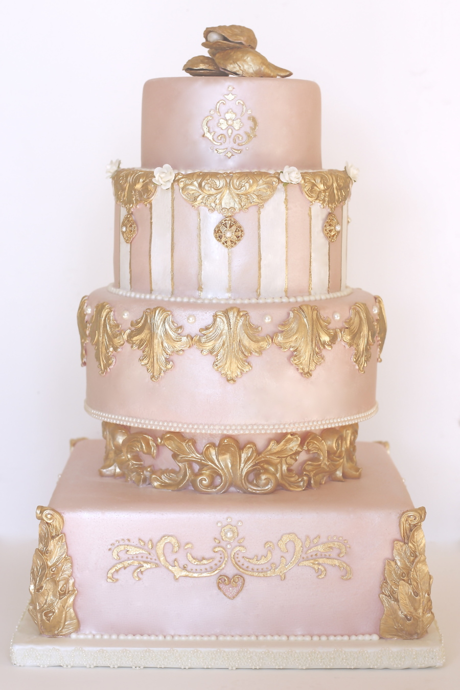 Pink, Pearl & Gold Wedding Cake - CakeCentral.com