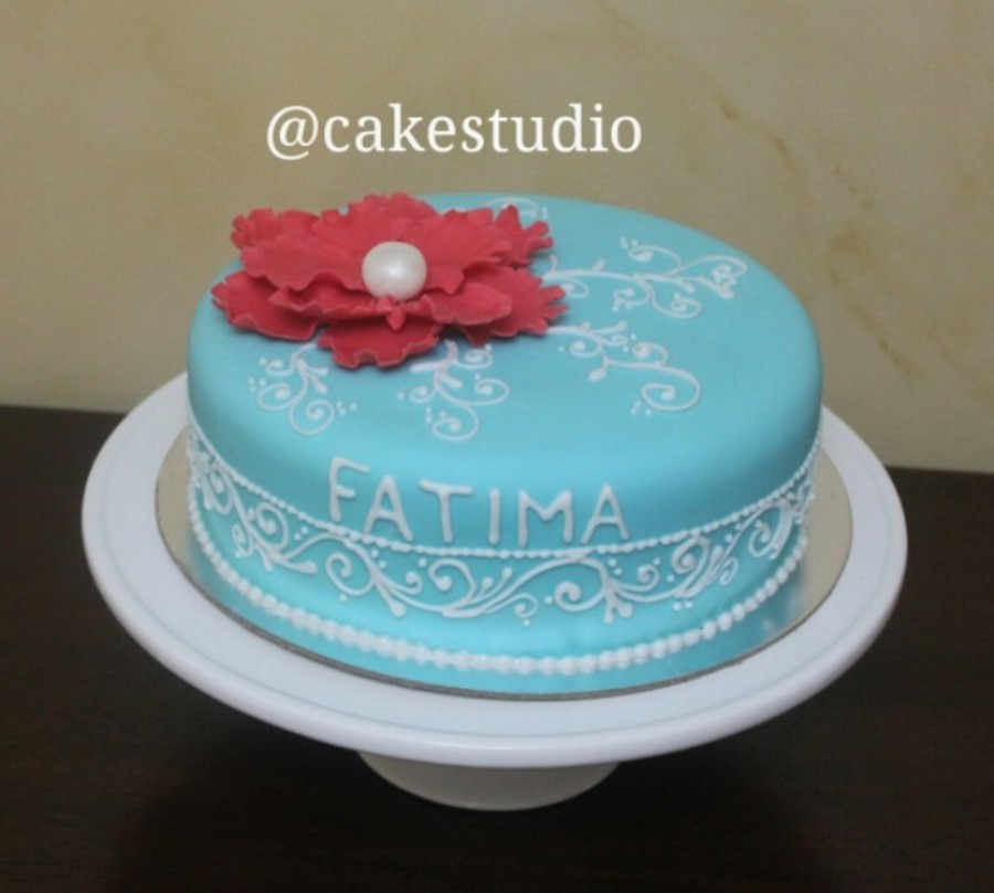 Vanilla Cake With Custard And Strawberry Sauce Filling Covered In Fondant Piping Is Done By Royal Icing on Cake Central