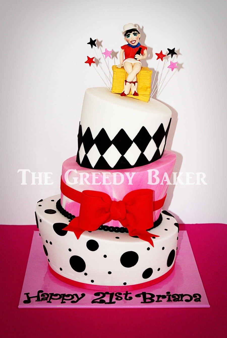 Based On A Pink Cake Box Design With A Topper Suited To The Party Invitation on Cake Central