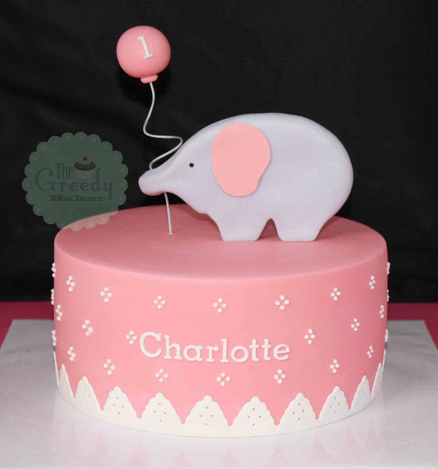 An 8 Dusty Pink Cake With Gumpaste Elephant Based On An Image The Client Sent Along From Hello Naomi on Cake Central
