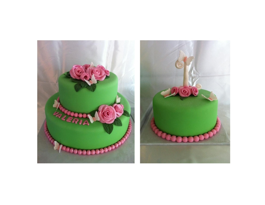Lime Green Pink Roses on Cake Central