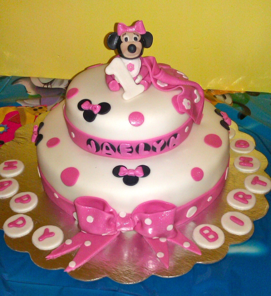 Astounding Minnie Mouse First Birthday Cake Cakecentral Com Funny Birthday Cards Online Inifodamsfinfo