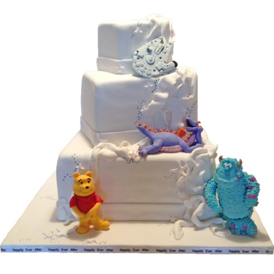 Disney Theme Wedding Cake Fondant Gum Paste Characters Cakecentral