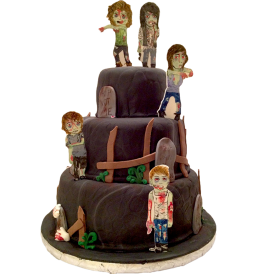 Halloween Birthday Zombie Cake Gumpaste Toppers Hand Painted Fondant Decorations On Central