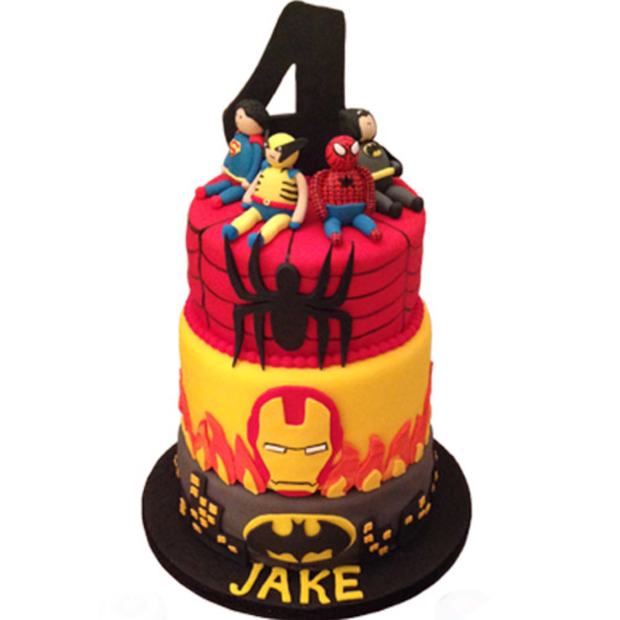 Marvel Hero Birthday Cake Batman Ironman Spiderman Gumpaste