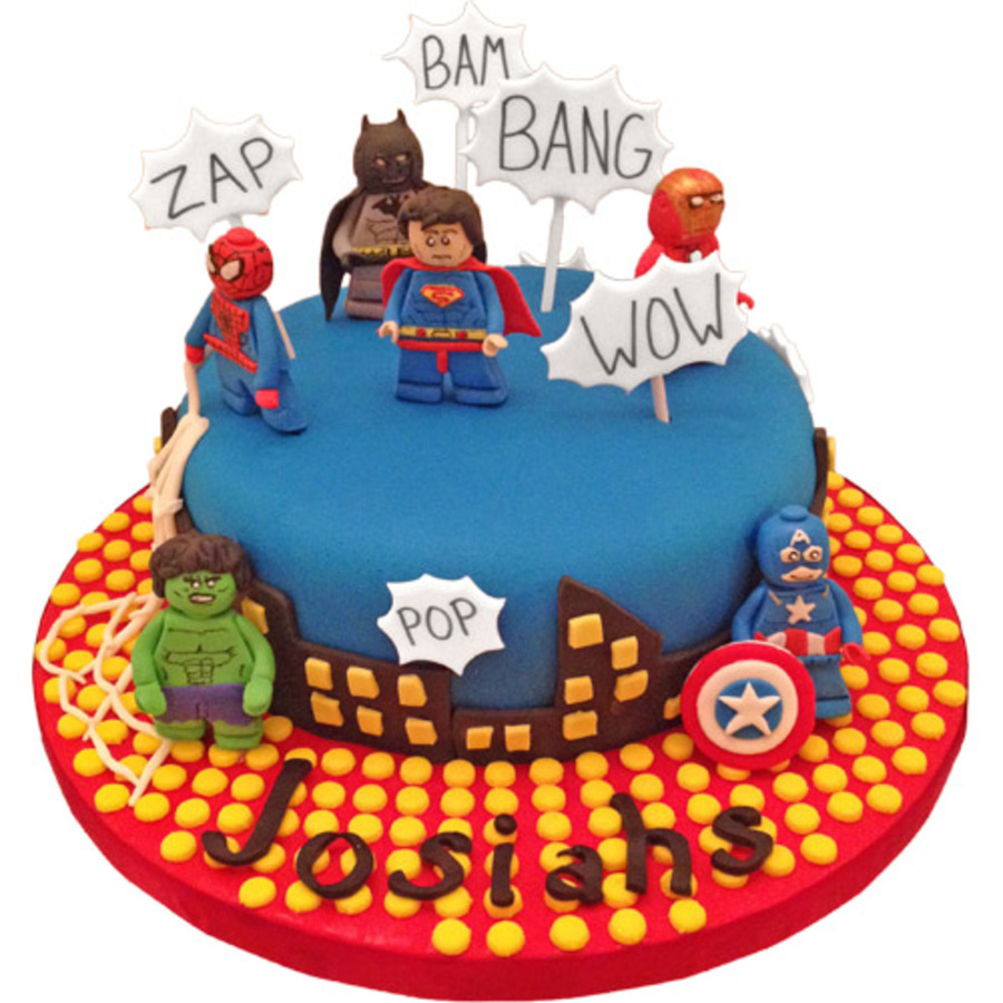 Marvel Lego Birthday Cake Gum Paste Characters CakeCentralcom