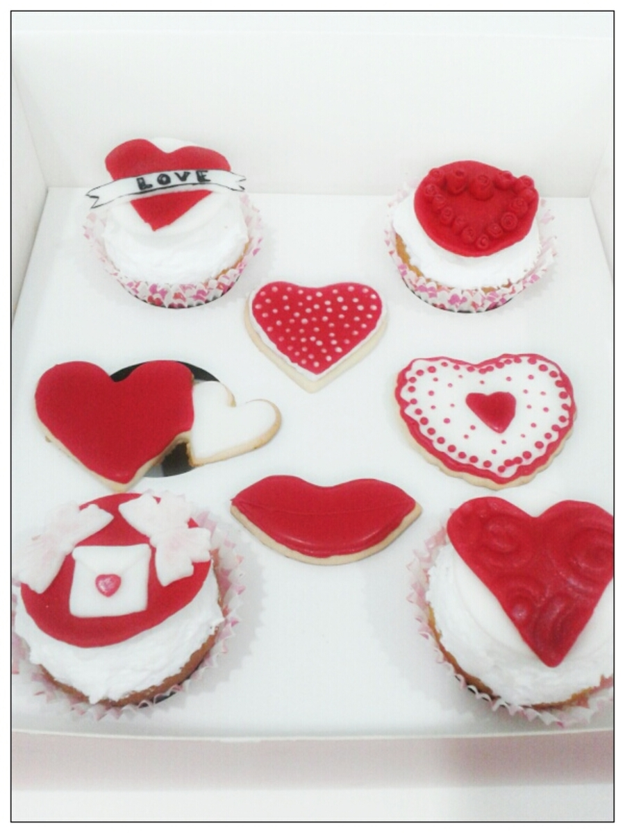 Red And White Valentine's Day Theme Cupcakes And Cookies on Cake Central