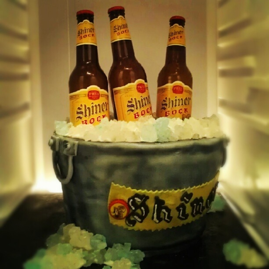 Shiner Beer Bucket Grooms Cake  on Cake Central