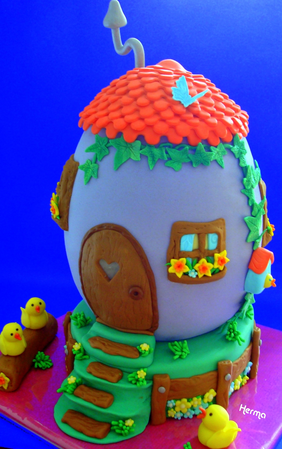 Tuscan 3D Cake Egg House With Chicks - CakeCentral com