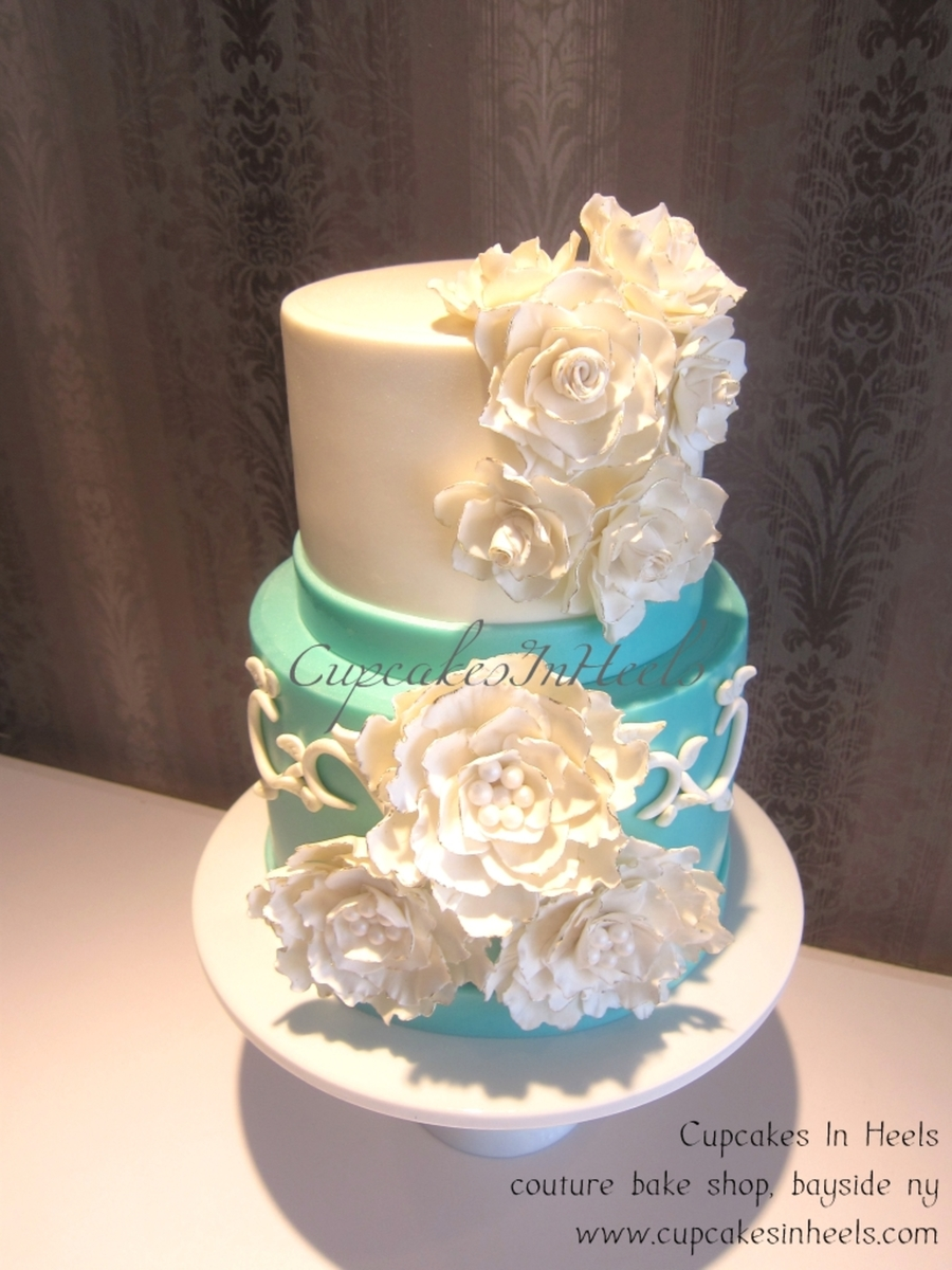 Tiffany Blue Sugar Flowers Bridal Shower Cake on Cake Central