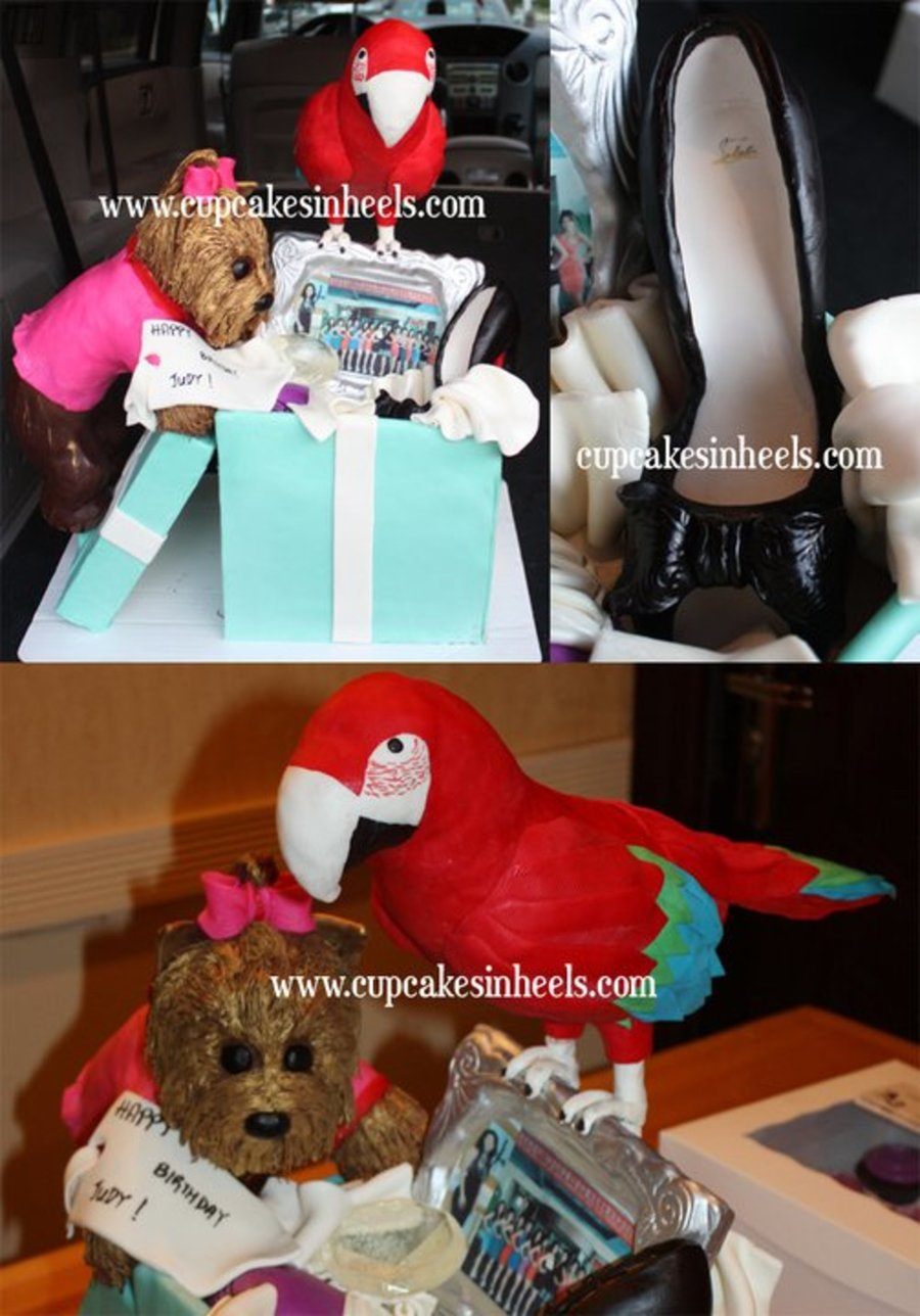 Tiffany Box Cake With Black Louboutin Shoe, Diamond, Nike Sneakers, Picture Frame, Dog And Parrot on Cake Central