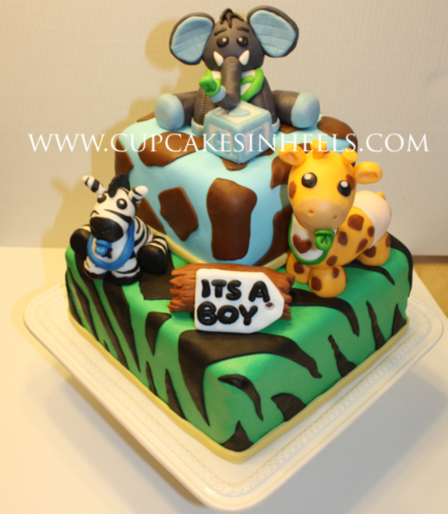 Baby Safari Animals Baby Shower Cake Elephant CakeCentralcom