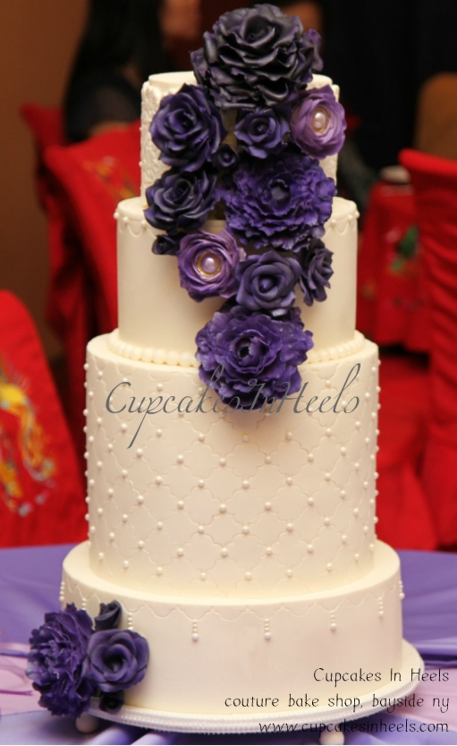 Wedding Cake With Purple Sugar Flowers on Cake Central