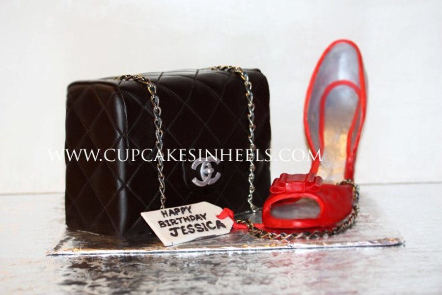 Black Leather Chanel Quilted Bag With Red Heels on Cake Central