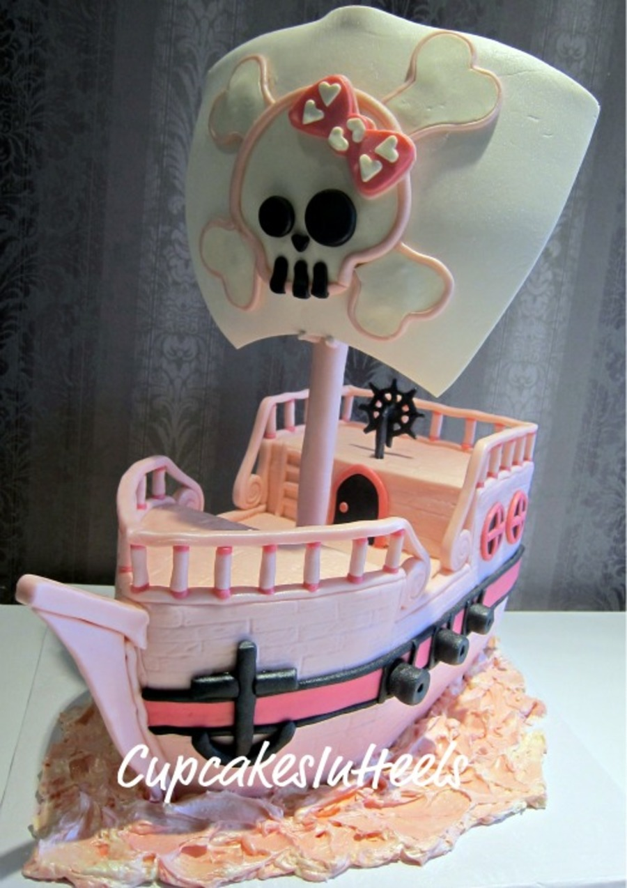 Incredible Pink Pirate Ship Cake Cakecentral Com Birthday Cards Printable Riciscafe Filternl