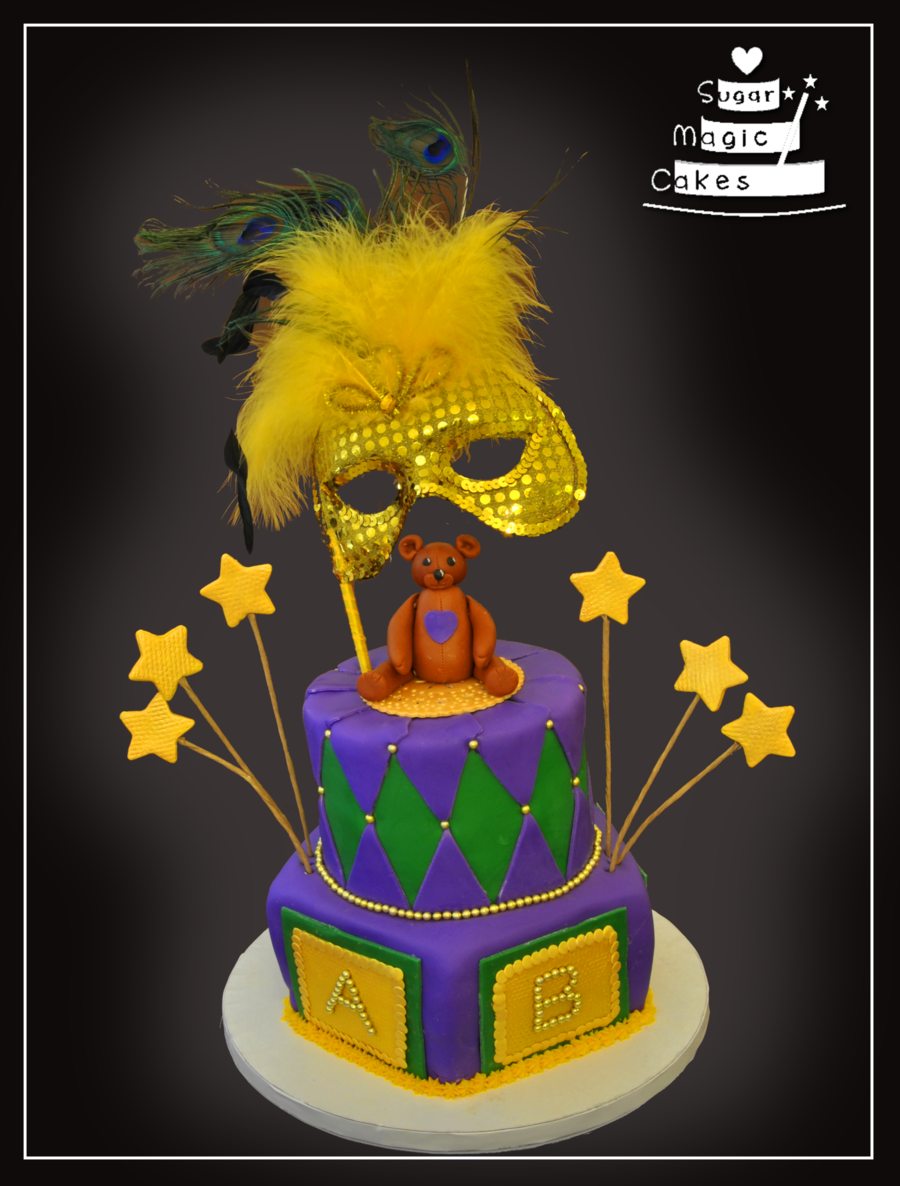 Mardi Gras Themed Baby Shower Cake Wwwfacebookcomsugarmagiccakes on Cake Central