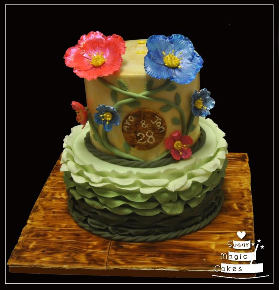 Floral Themed Birthday Cake Wwwfacebookcomsugarmagiccakes on Cake Central