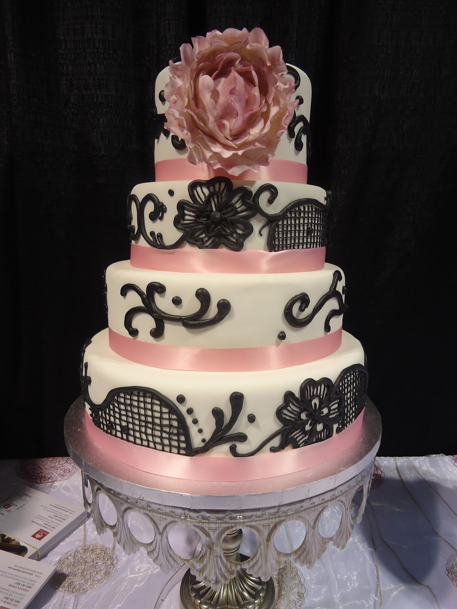black lace wedding cakes black lace wedding cakecentral 11869