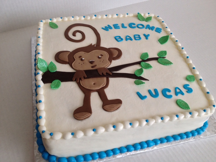 Monkey Baby Shower Cake Chocolate With Vanilla Buttercream Frosting