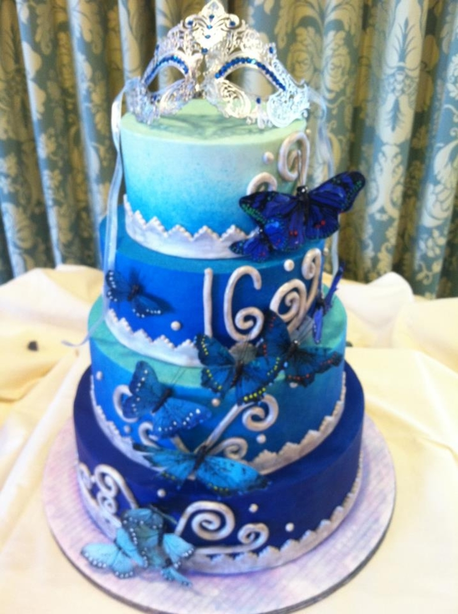 Ombre Sweet 16  on Cake Central
