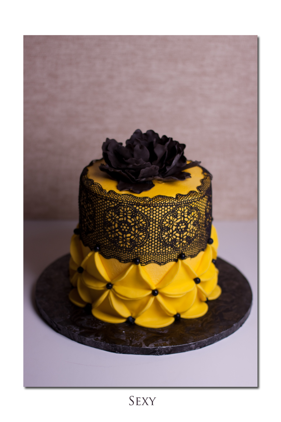 Black And Yellow Was All The Instruction The Client Gave Me Buttercream Icing Sugarveil Lace Fondant Geometrics on Cake Central