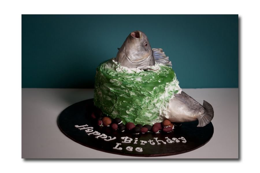 Birthday Cake For An Avid Fisherman I Have Done One Similar To This On A Larger Scale In My Gallery Fish Is Rkt Covered In Fondant Butter on Cake Central