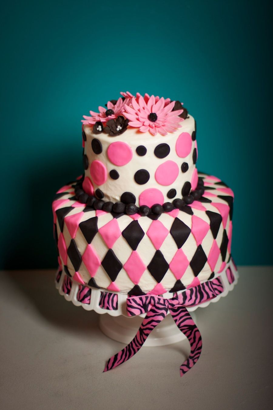 Pink And Black Argyle on Cake Central