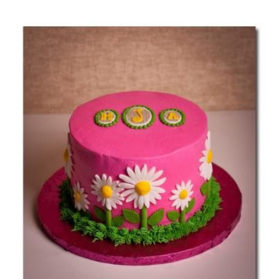Birthday Cake For A Girl Who Is Full Of Personality And Loves Flowers All She Told Me Was She Wanted Pink And Green And Possibly A Monogra... on Cake Central