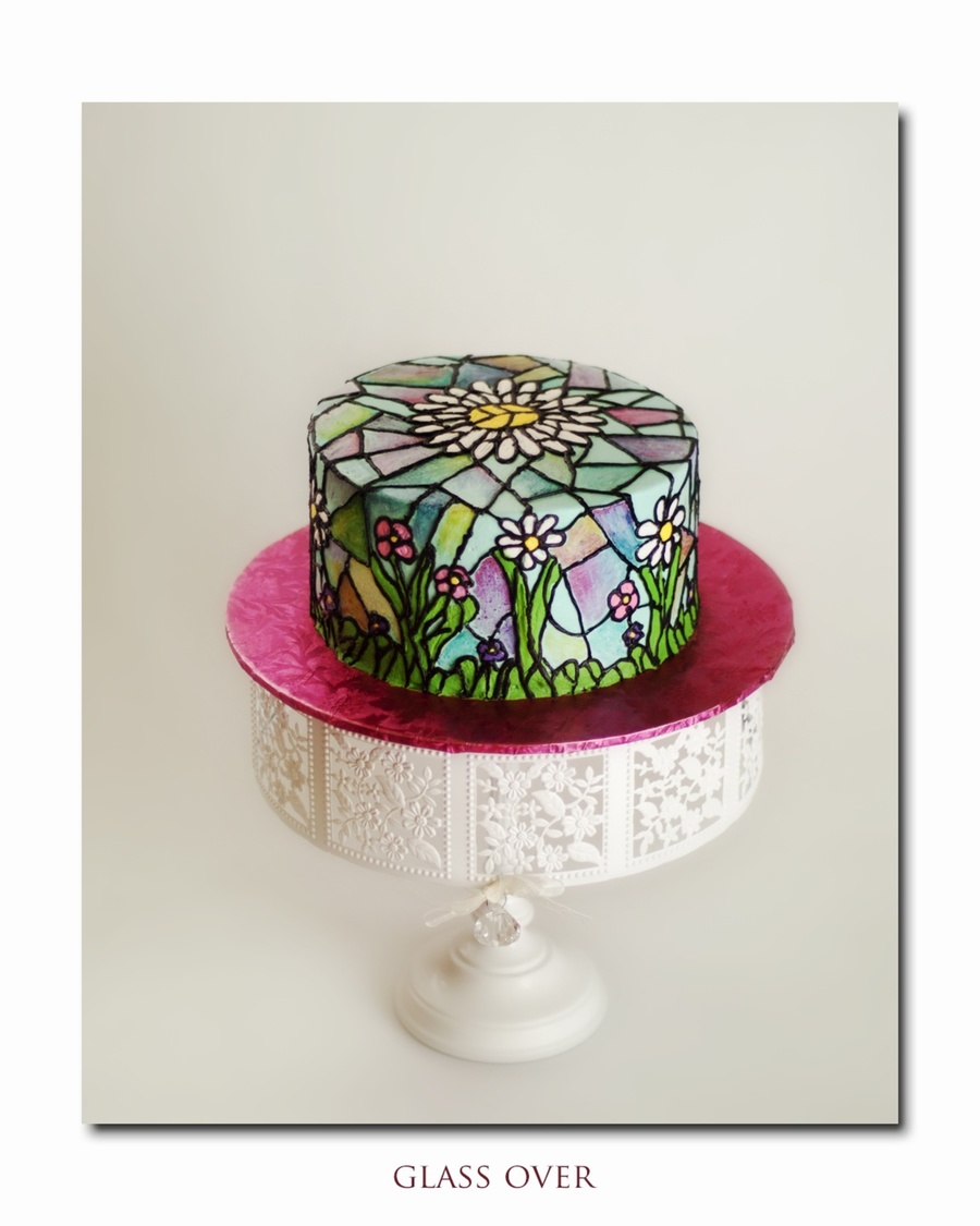 My First Attempt At Stained Glass Done On Buttercream Icing Using Mycakeschoolcom And Melissas Tutorial on Cake Central