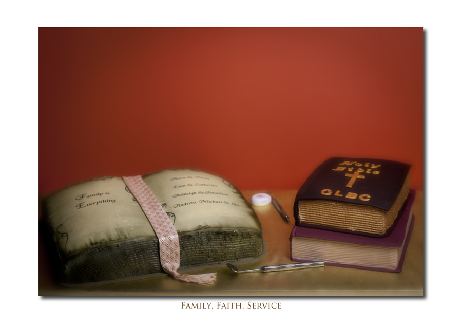 Retirement Cake For A Dentist Large Book Done From Wilton Book Pan Iced With Buttercream Edible Paper For Top Pages Bible Represents Her on Cake Central