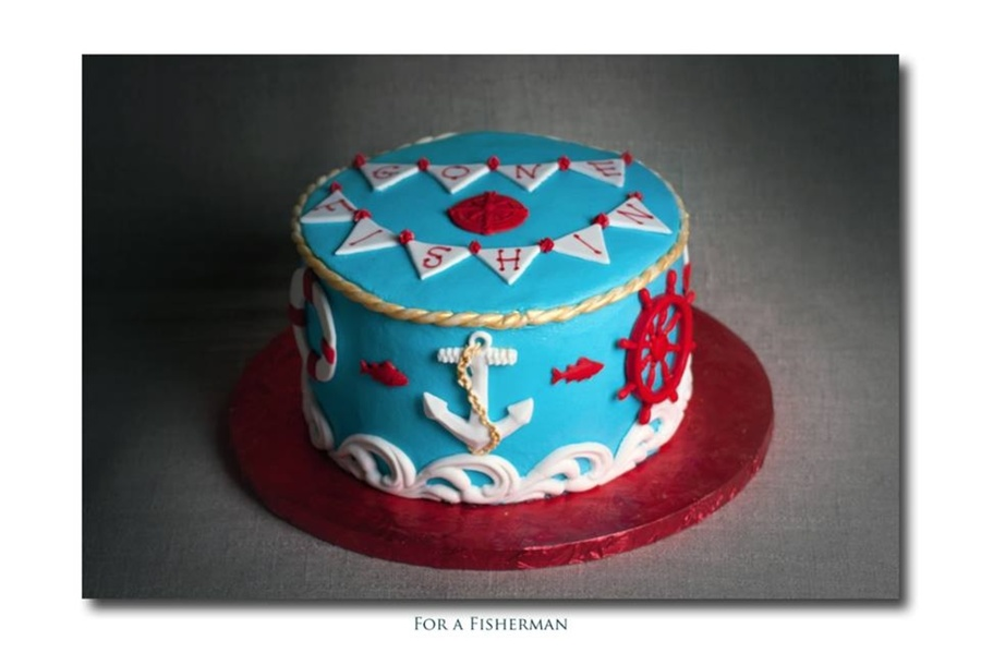 Birthday Cake For A Fisherman Buttercream Icing Fondant Accents on Cake Central