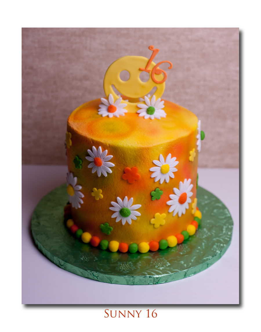 3 Layer Vanilla Cake With Tye Die Airbrushing Fondant Daisies And Accents on Cake Central