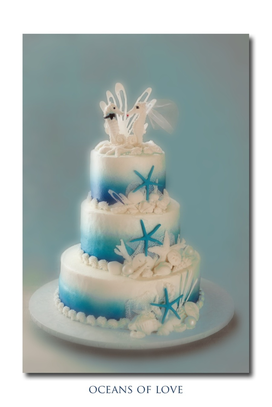 Beach Themed Wedding Cake Airbrushed Sugarveil Isomalt Fondant