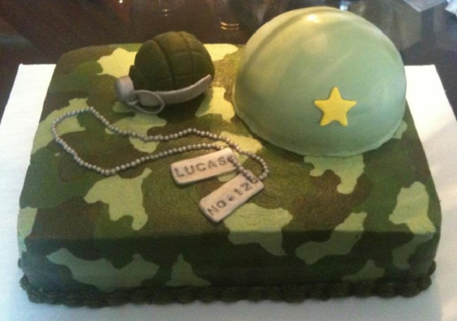 Camo Cake, Buttercream Frosting  on Cake Central