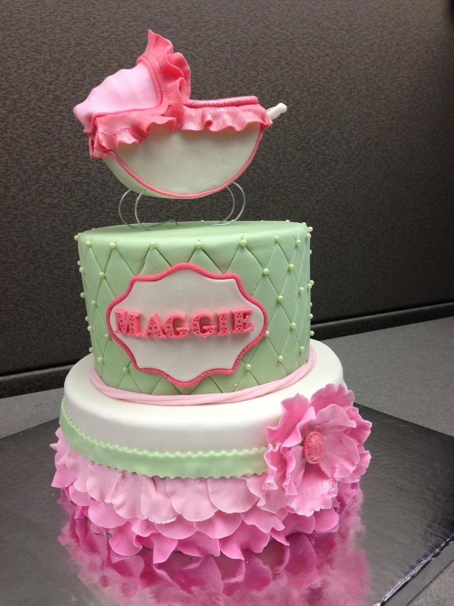 Fondant Cake Ideas For Baby Shower : Girl Baby Shower Fondant Petal Cake - CakeCentral.com