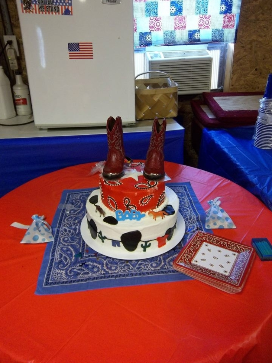Cowboy Themed Baby Shower Cake On Cake Central
