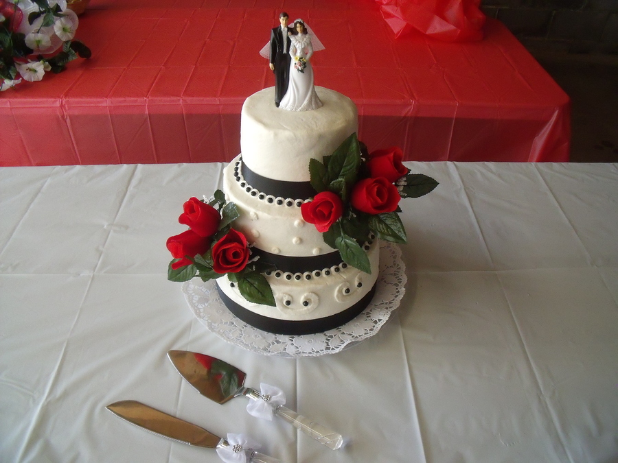 Simple Black, White, Red Wedding Cake on Cake Central