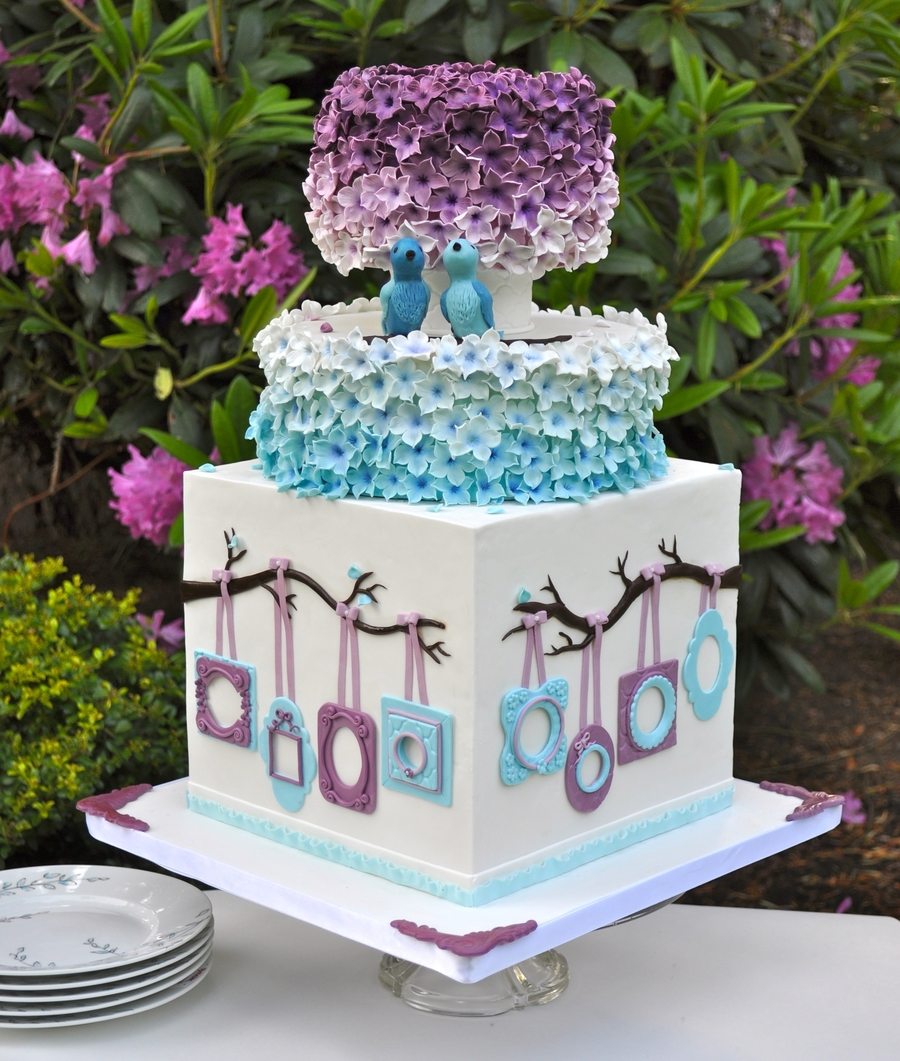 pink purple and blue wedding cake blue and purple wedding cake cakecentral 18582